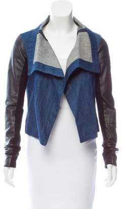 Veda Denim Leather-Trimmed Jacket