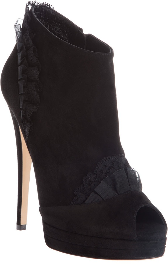 CASADEI Lace frill ankle boot