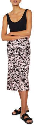Warehouse Zebra Bias Cut Skirt
