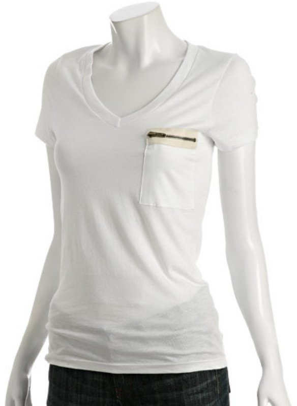 Romeo & Juliet Couture white cotton zip pocket v-neck t-shirt