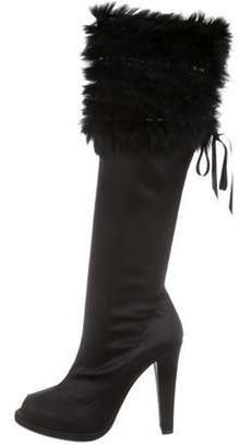 Bruno Magli Satin Knee-High Boots Black Satin Knee-High Boots
