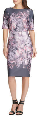 DKNY Elbow-Sleeve Printed Sheath Dress