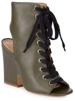 Schutz Dudaflor Lace-Up Leather Booties