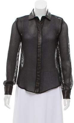 Proenza Schouler Leather-Trimmed Mesh Top