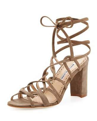 Manolo Blahnik Jena Suede Lace-Up Sandal, Taupe $795 thestylecure.com