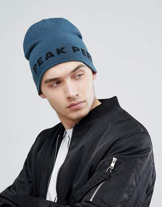 Peak Performance PP Beanie Logo Hat In Blue