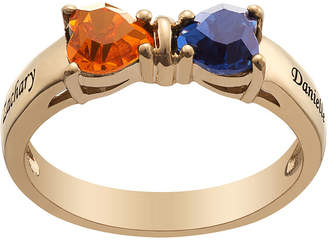 FINE JEWELRY Personalized Womens Simulated Multi Color Cubic Zirconia 18K Gold Over Silver Heart
