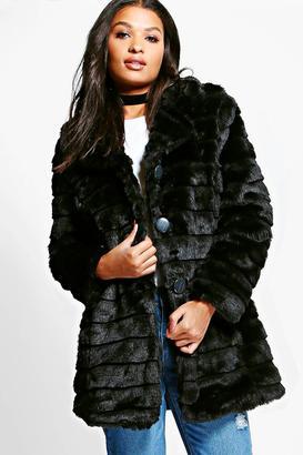 boohoo Evelyn Black Faux Fur Coat