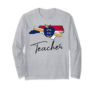 Cute North Carolina Teacher Long Sleeve shirt America Stat