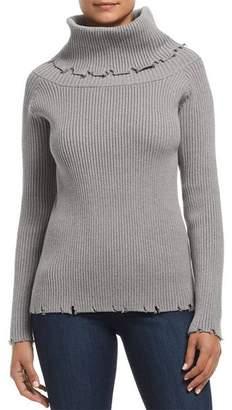 Elan International Distressed Ribbed Sweater