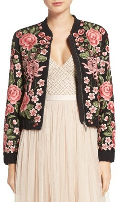 Women's Needle & Thread Embroidered Bomber Jacket $499 thestylecure.com