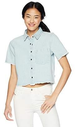 RVCA Junior's Gone Fishing Short Sleeve Woven Button Down Shirt
