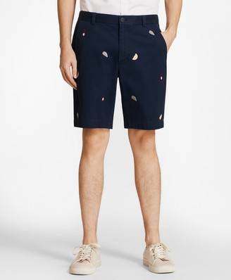 Brooks Brothers Embroidered Oyster Cotton Twill Shorts
