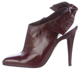 Sergio Rossi Patent Leather Slingback Booties