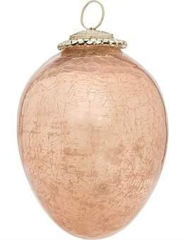 David Jones Orn-Crackle Effect Pink Glass 10Cm Egg