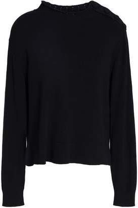 Sandro Alma Button-Detailed Ribbed Cotton Sweater