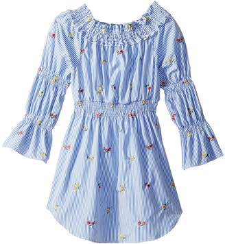 Maddie by Maddie Ziegler Smocked Shirtdress with Floral Embroidery Girl's Dress