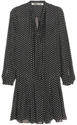McQ Alexander McQueen - Pintucked Flocked Silk-blend Dress - Black $630 thestylecure.com