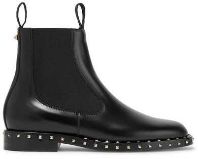Valentino - Studded Leather Chelsea Boots - Black
