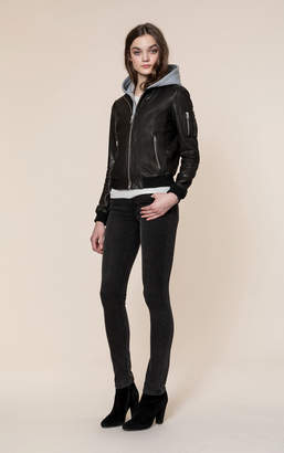 Soia & Kyo FARICA leather bomber jacket with removable hood