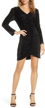 Fraiche by J Long Sleeve Leopard Velvet Dress