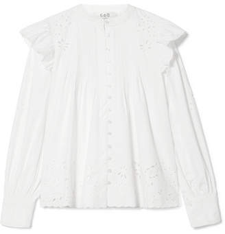 Sea Butterfly Pleated Broderie Anglaise Cotton Blouse - White
