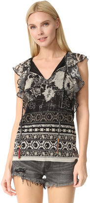 Fuzzi Short Sleeve Blouse $435 thestylecure.com