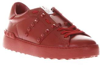 Valentino Rockstud Untitled Red Leather Sneakers
