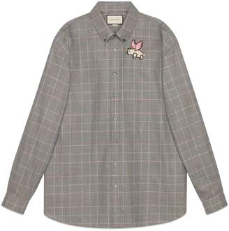Gucci Oversize wool shirt with patch