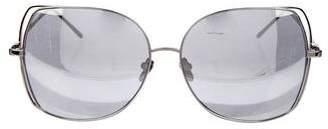 Linda Farrow White Gold-Plated Sunglasses