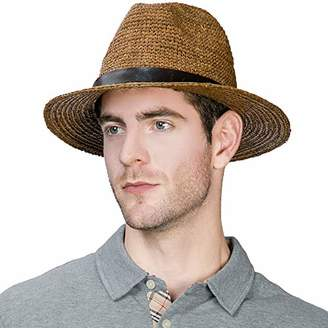 Jeff   Aimy Womens Summer Fedora Straw Trilby Beach Panama Derby Safari Sun  Hat Crushable Havana a04df9df6ee5