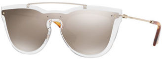 Valentino Glamgloss Mirrored Shield Sunglasses $410 thestylecure.com