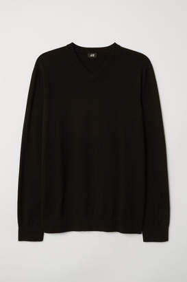 H&M V-neck Cotton Sweater - Black