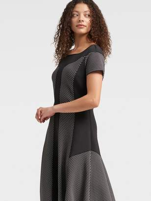 DKNY Striped Fit-and-flare Dress