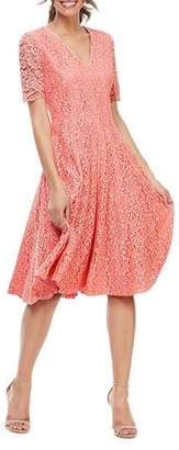 Gal Meets Glam V-Neck Elbow-Sleeve Lace Cocktail Dress
