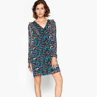 23ce4b2298 Suncoo Long-Sleeved Graphic Print Straight Mini Dress