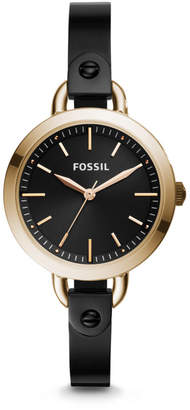 Fossil Classic Minute Three-Hand Rose Gold-Tone Black Stainless Steel Watch