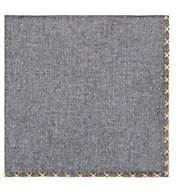 Eleventy Men's Cross-Stitched Cotton Handkerchief - Blue