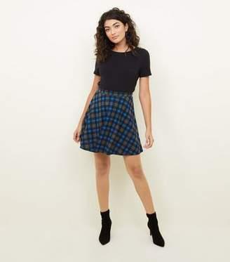 New Look Blue Check Skater Skirt