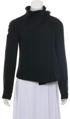 Vince Asymmetrical Frayed-Trim Jacket