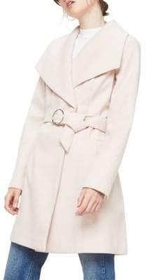 Miss Selfridge Belted Draped-Collar Coat