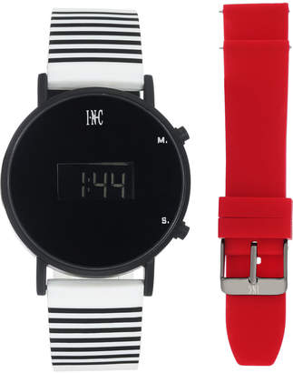 INC International Concepts I.N.C. Women's White Striped Silicone Strap Watch 39mm Gift Set, Created for Macy's
