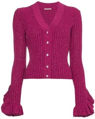 Marco De Vincenzo V-neck lurex knitted cardigan