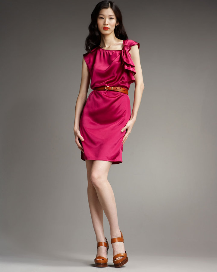 MARC by Marc Jacobs Charmeuse Bow-Shoulder Dress, Hot Fuchsia