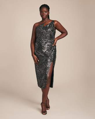 Christian Siriano Black & Silver Sequin Zig Zag Dress