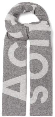 Acne Studios Toronty Intarsia Wool Blend Scarf - Womens - Grey