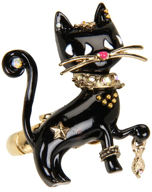 Betsey Johnson Morocco Adventure Black Cat Stretch Ring (Black) - Jewelry