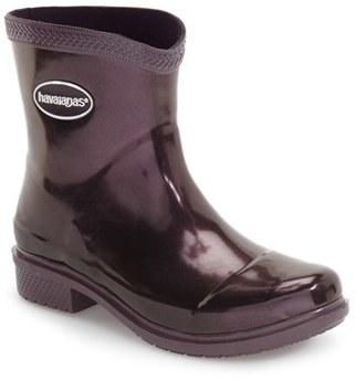 Women's Havaianas 'Galochas Low Metallic' Waterproof Rain Boot $70 thestylecure.com