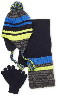 Capelli New York (Boys 4-7) 3-Piece Stripe Hat, Gloves & Scarf Set