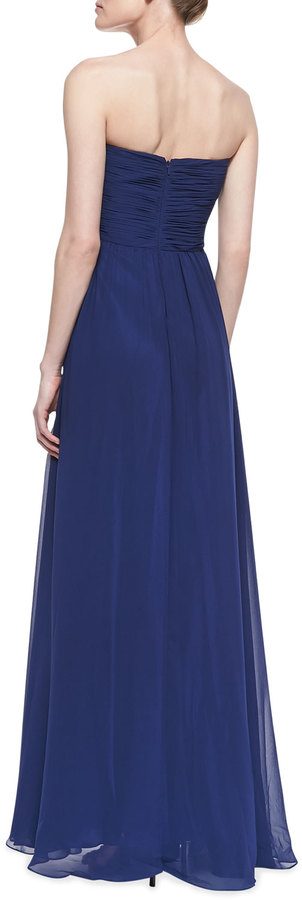 Faviana Strapless Ruched Bodice Gown, Navy